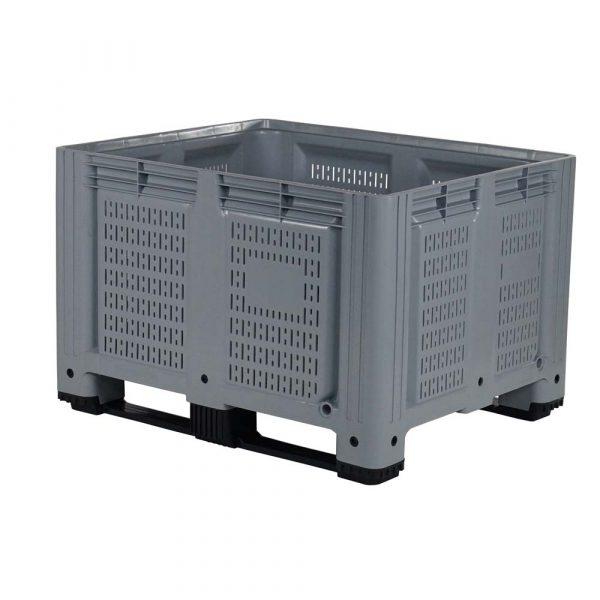Teollisuuskäyttöön  muovinen suurlaatikko – ilmanvaihtoaukot sivuissa