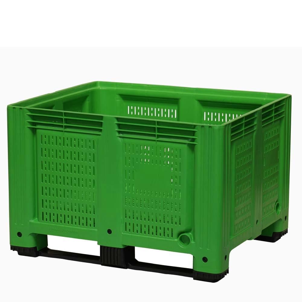 Vihreä muovinen suurlaatikko, jossa on ilmanvaihtoaukot sivuissa ja pohjassa.